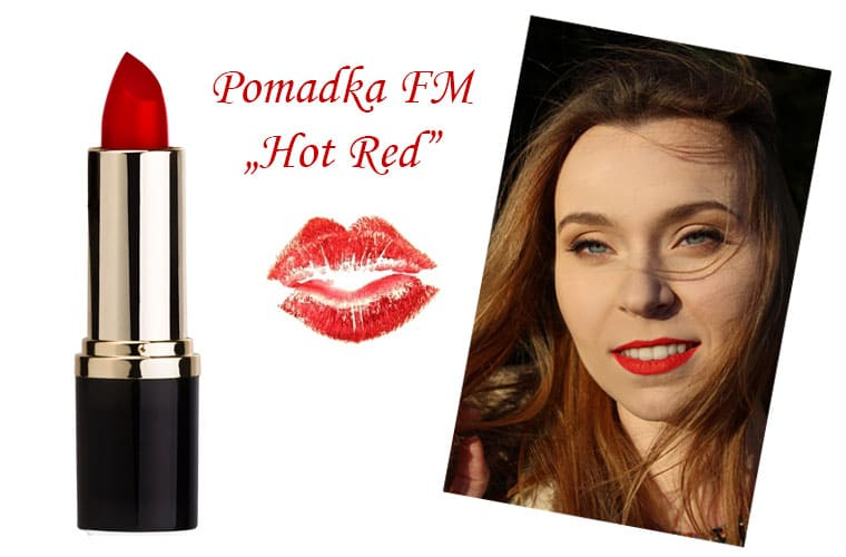 "Pomadka w odcieniu ""Hot Red"" od FM."